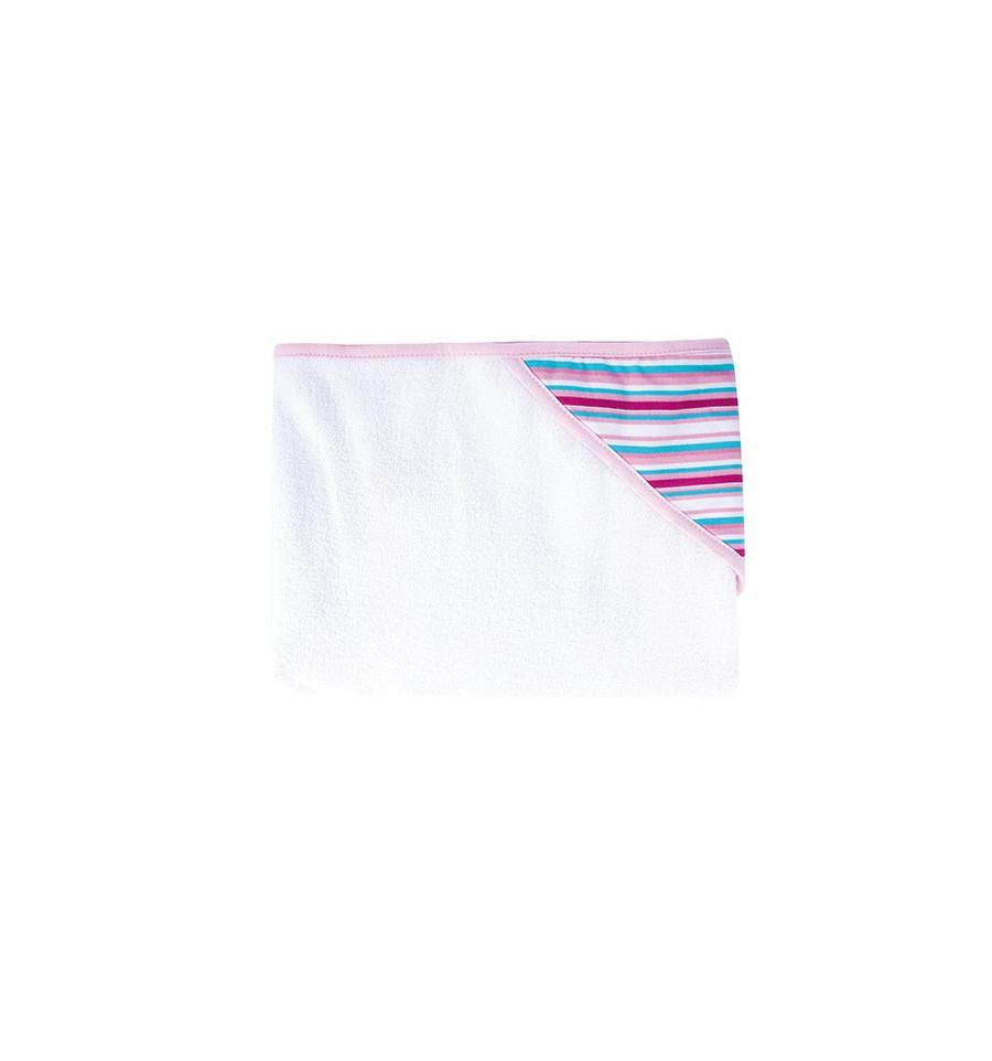 Osuška - bavlna, polyester (80x95cm) Ružové prúžky
