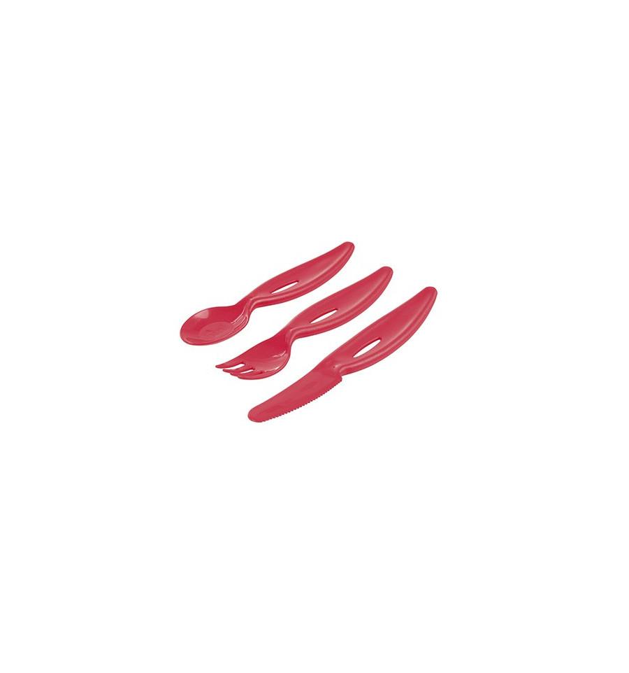 Sada príborov - vidlička, lyžička, nôž Červená