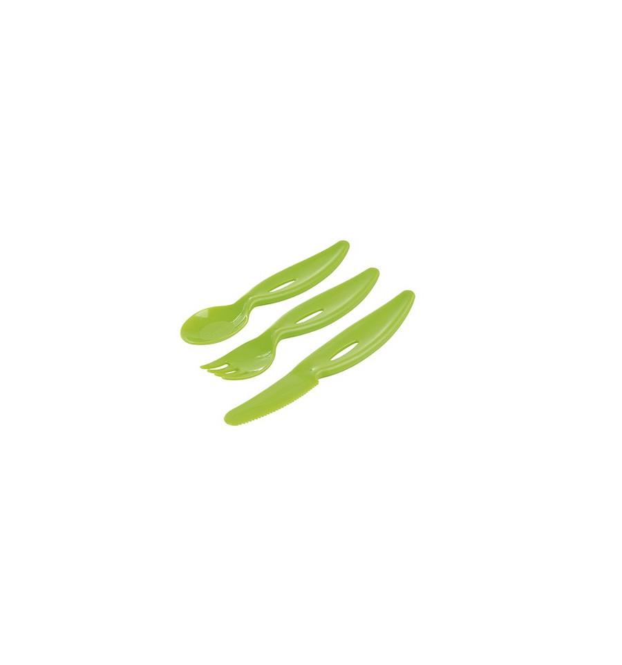 Sada príborov - vidlička, lyžička, nôž Zelená