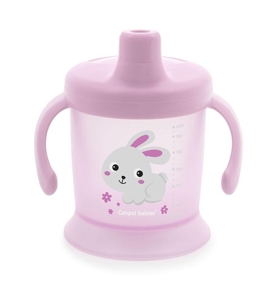 Netečúci hrnček s tvrdým náustkom 200ml 9m+ Bunny&Company Ružová