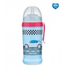 Canpol babies Športová fľaša netečúca Racing 350ml 12m+ tmavo modrá