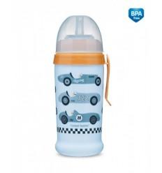 Canpol babies Športová fľaša netečúca Racing 350ml 12m+ svetlo modrá