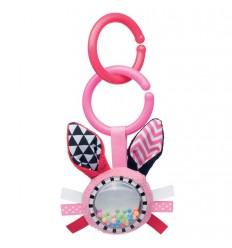 Plyšová hračka s hrkálkou 0m+ Zig Zag ružový zajko