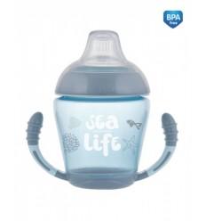 Netečúci hrnček s mäkkým náustkom 230ml 9m+ Sea Life sivý