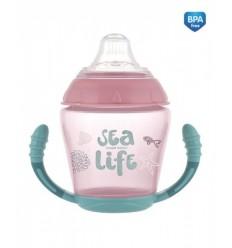 Netečúci hrnček s mäkkým náustkom 230 ml 9 m+ Sea Life ružový