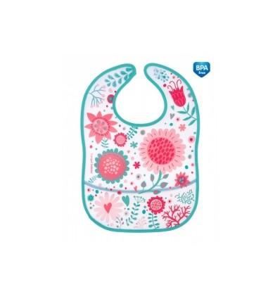 Canpol babies podbradník plastový mäkký s vreckom Wild Nature ružový