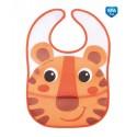 Canpol babies Podbradník plastový mäkký s vreckom Hello Little oranžový