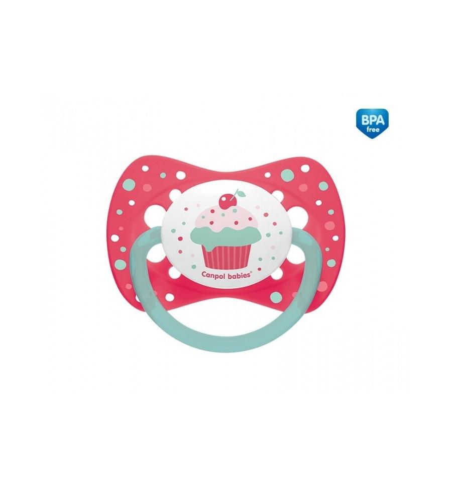 Canpol babies cumlík utišujúci Cupcake - silikón symetrický A 0-6 m ružový SKLADOM