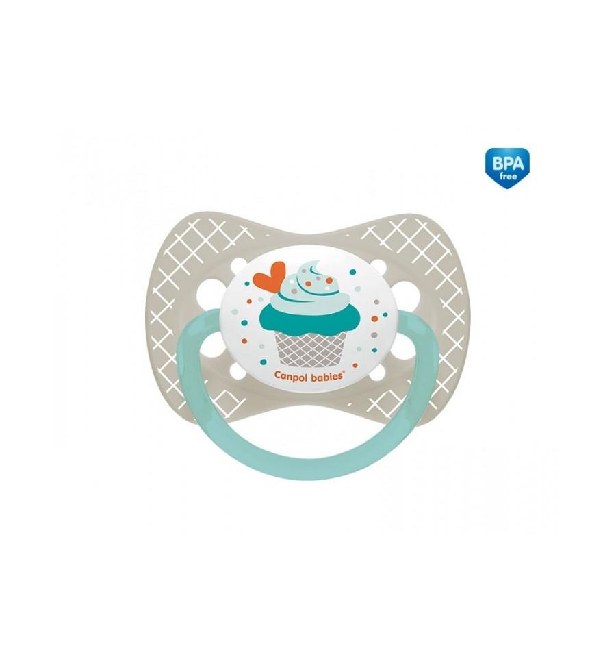 Canpol babies cumlík utišujúci Cupcake silikón symetrický B 6-18 m sivý
