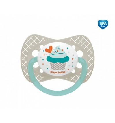 Canpol babies cumlík utišujúci Cupcake silikón symetrický C 18 m+ sivý