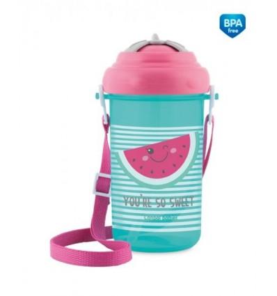 Canpol babies Športová fľaša so slamkou a vrchnákom 400 ml 12 m+ So Cool! ružová