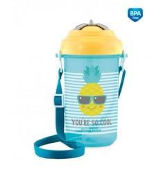 Športová fľaša so slamkou a vrchnákom 400ml 12m+ So Cool! žltá