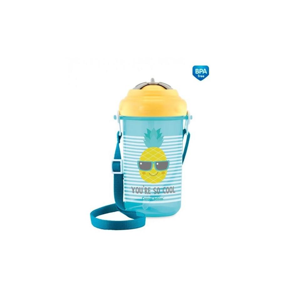 Canpol babies Športová fľaša so slamkou a vrchnákom 400 ml 1 2m+ So Cool! žltá
