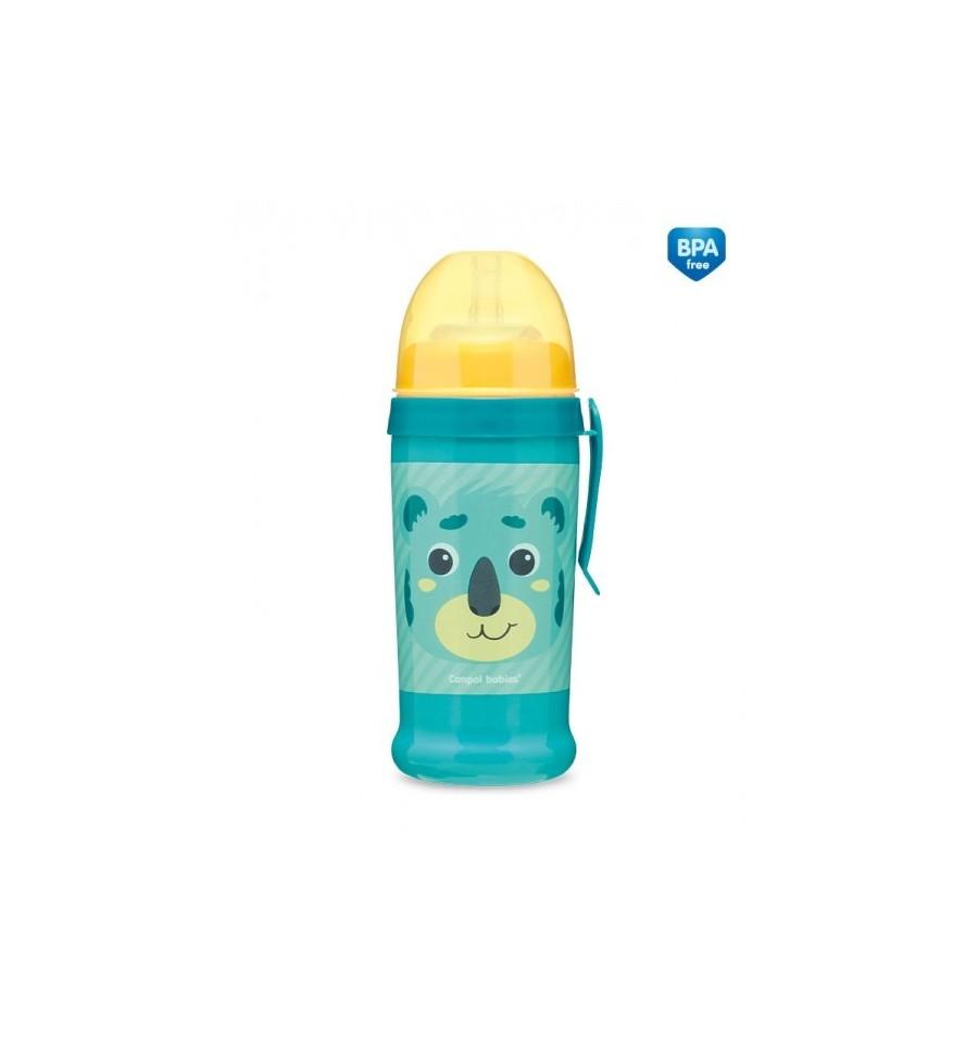 Canpol babies Športová fľaša netečúca Hello Little koala 350 ml 12 m+ tyrkysová SKLADOM
