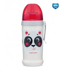Canpol babies Športová fľaša netečúca Hello Little panda 350 ml 12 m+ béžová
