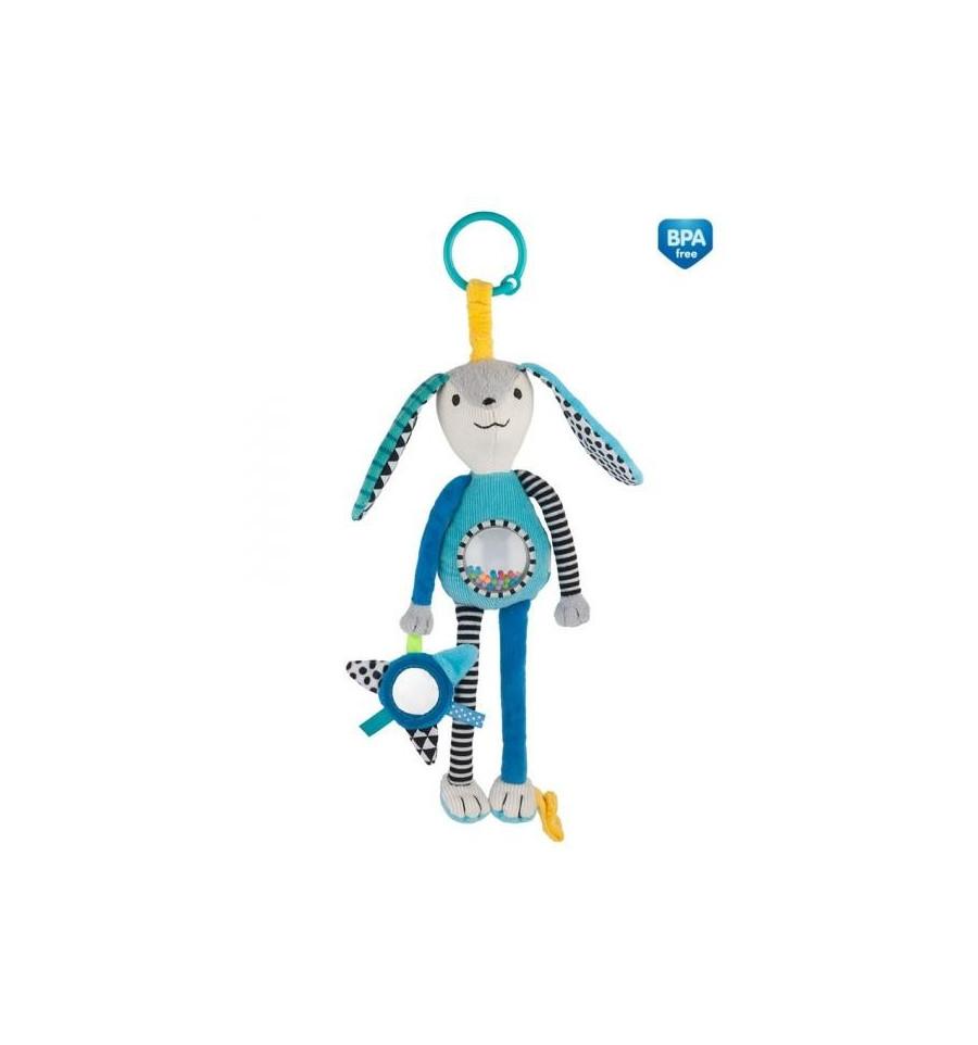 Canpol babies Plyšová hračka s hrkálkou a zrkadielkom 0m+ Zig Zag Modrá