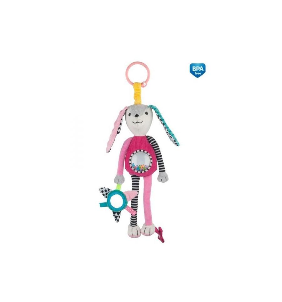 Canpol babies Plyšová hračka s hrkálkou a zrkadielkom 0m+ Zig Zag Ružová