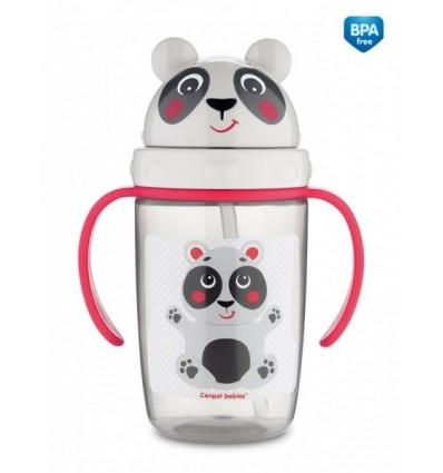 Canpol babies Športová fľaša so silikónovou slamkou 400ml 12m+ Panda béžová