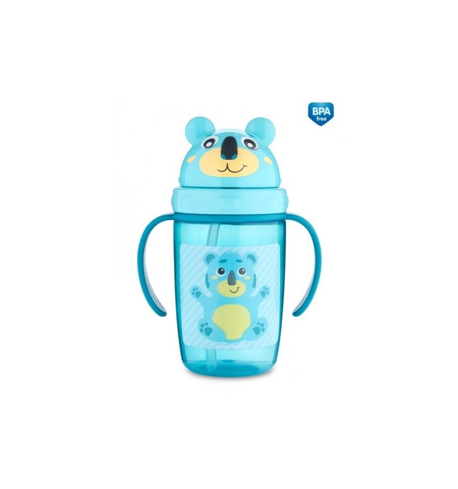 Canpol babies Športová fľaša so silikónovou slamkou 400 ml 12m+ Medvedík tyrkysová