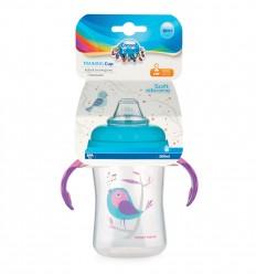 Canpol babies tréningový hrnček so silikónovým náustkom 300 ml Vtáčiky