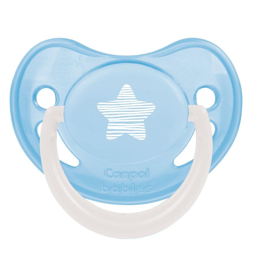 Canpol babies Cumlík utišujúci silikónový anatomický Pastelove B 6-18m Svetlo modrá