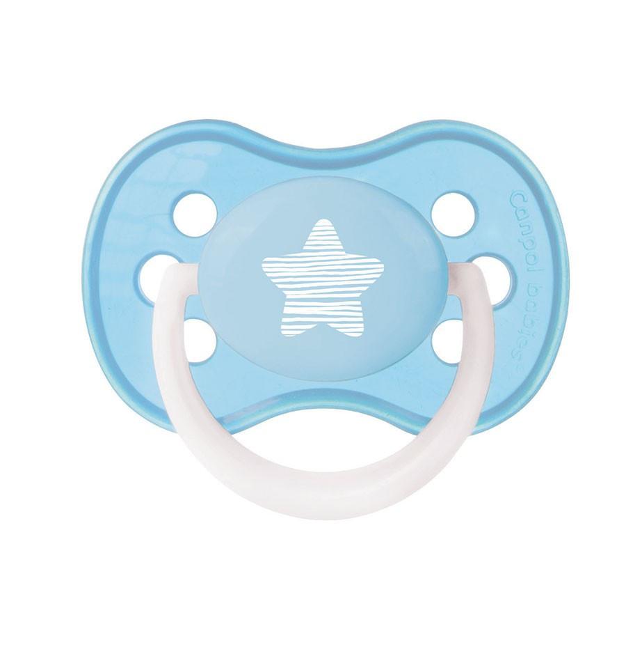 Canpol babies Cumlík utišujúci silikónový okrúhly Pastelove A 0-6 m Svetlo modrá