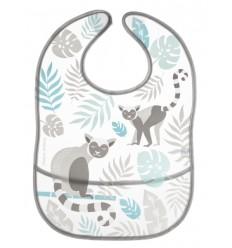 Canpol babies podbradník plastový mäkký s vreckom Džungľa sivý