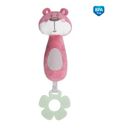 Canpol babies Plyšová pískacia hračka s hryzačkou ružová 0m+ Pastel friends