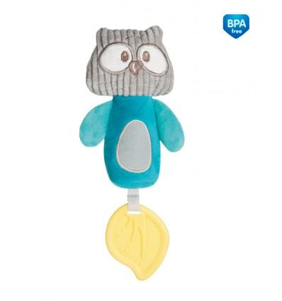 Canpol babies Plyšová pískacia hračka s hryzačkou tyrkysová 0m+ Pastel friends