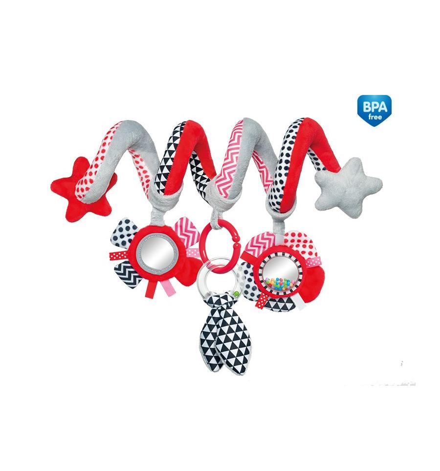 Canpol babies Interaktívna hračka na postieľku alebo kočík červená ZigZag
