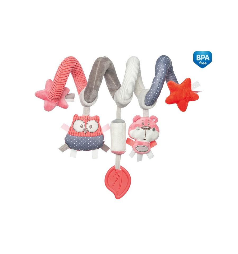 Canpol babies Interaktívna hračka na postieľku alebo kočík koralová Pastel friends