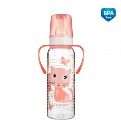 """Dojčenská fľaša """"Veselé zvieratká """" s držiakmi plast - 250ml (BPA0%)"""