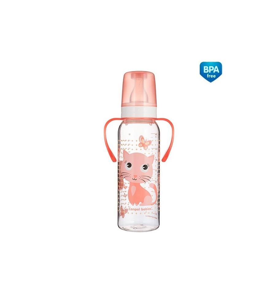 Canpol babies Dojčenská fľaša plast s držiakmi Cute Animals 250 ml 12m+