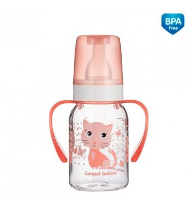 """Dojčenská fľaša """"Veselé zvieratká"""" s držiakmi plast - 120ml(BPA 0%)"""