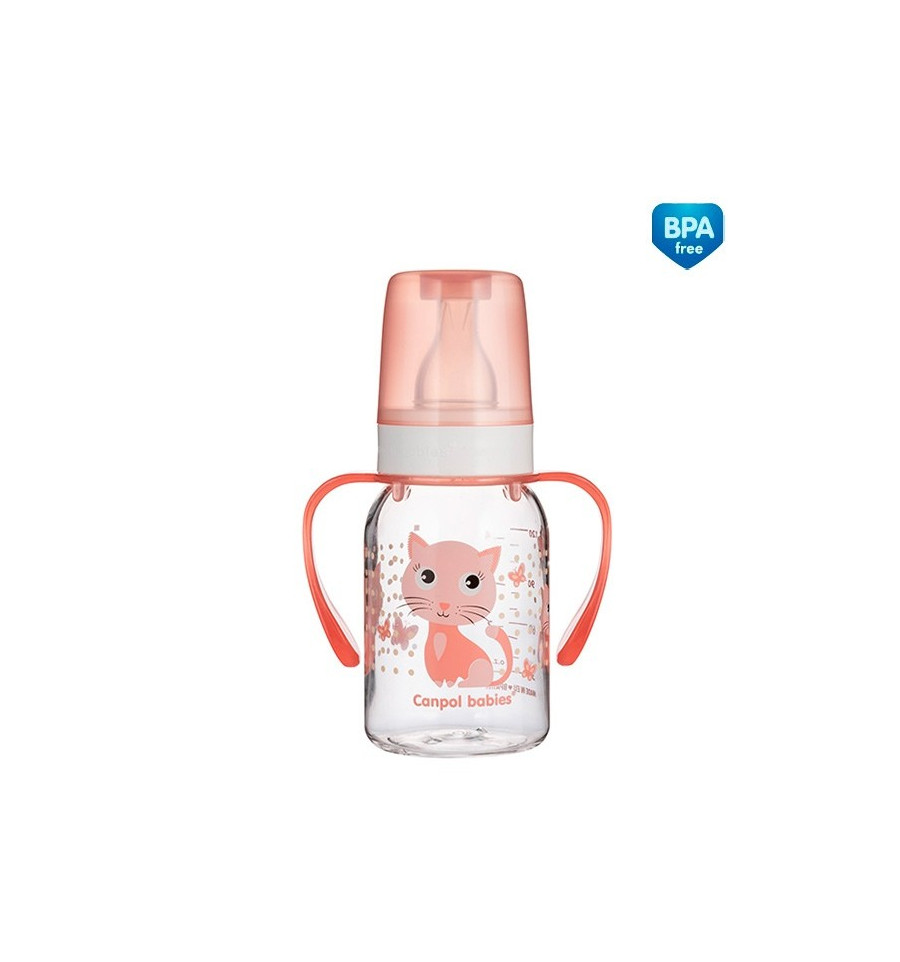 Canpol babies Dojčenská fľaša plast s držiakmi Cute Animals  120 ml 3m+