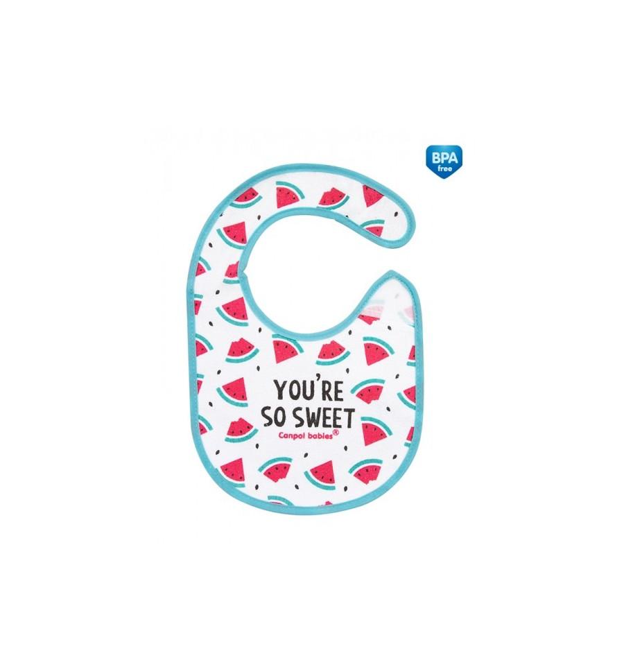 Canpol babies Podbradník bavlna podšitý So Cool ružový 1 ks SKLADOM