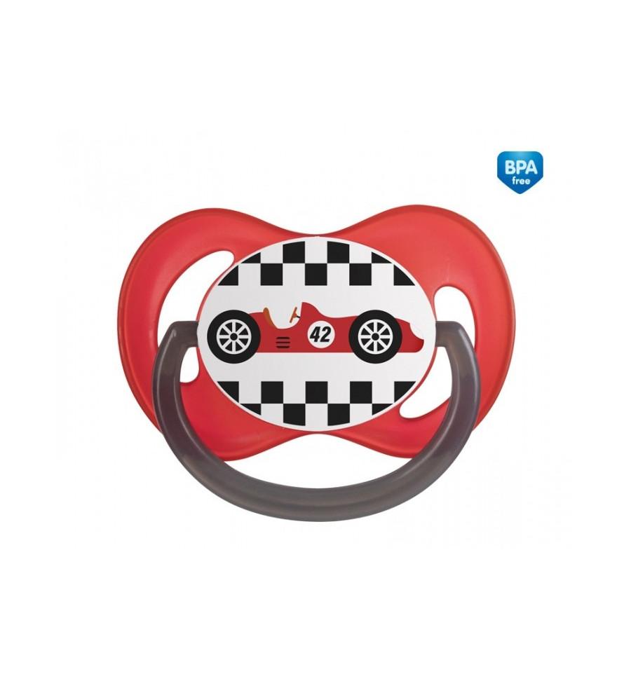 Canpol babies Cumlík utišujúci Racing - silikón, symetrický A 0-6m červený SKLADOM