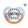 Canpol babies Cumlík utišujúci Racing - silikón, symetrický B 6-18m modrý