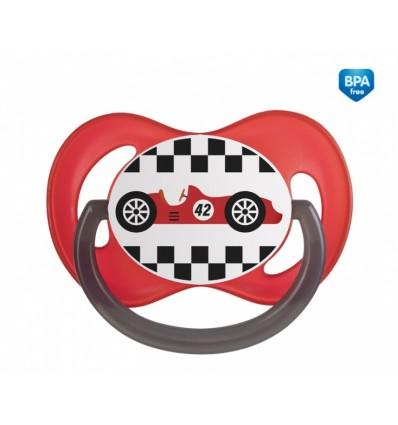 Canpol babies Cumlík utišujúci Racing - silikón, symetrický B 6-18m červený
