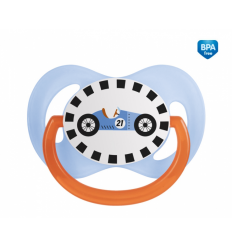Canpol babies Cumlík utišujúci Racing silikón symetrický C 18m+ modrý
