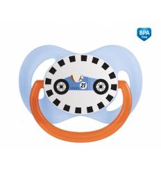 Canpol babies Cumlík utišujúci Racing - silikón, symetrický C 18m+ modrý
