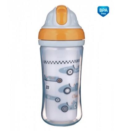 Canpol babies Športová fľaša s dvojitou stenou a silikónovou slamkou Racing 260 ml 12m+