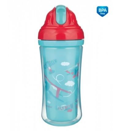 Canpol babies Športová fľaša s dvojitou stenou a silikónovou slamkou Lietadlá 260 ml 12m+