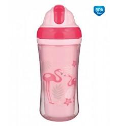 Canpol babies Športová fľaša s dvojitou stenou a silikónovou slamkou Plameniak 260 ml 12m+