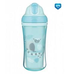 Canpol babies Športová fľaša s dvojitou stenou a silikónovou slamkou Lemur 260 ml 12m+