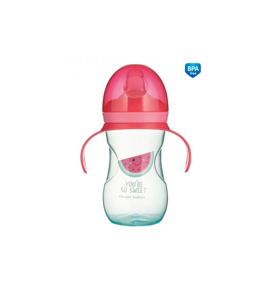 Canpol babies Tréningový hrnček so silikónovým náustkom 270 ml So Cool ružový