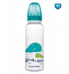 Canpol babies Dojčenská fľaša tvarovaná plast LOVE&SEA 250 ml 3m+