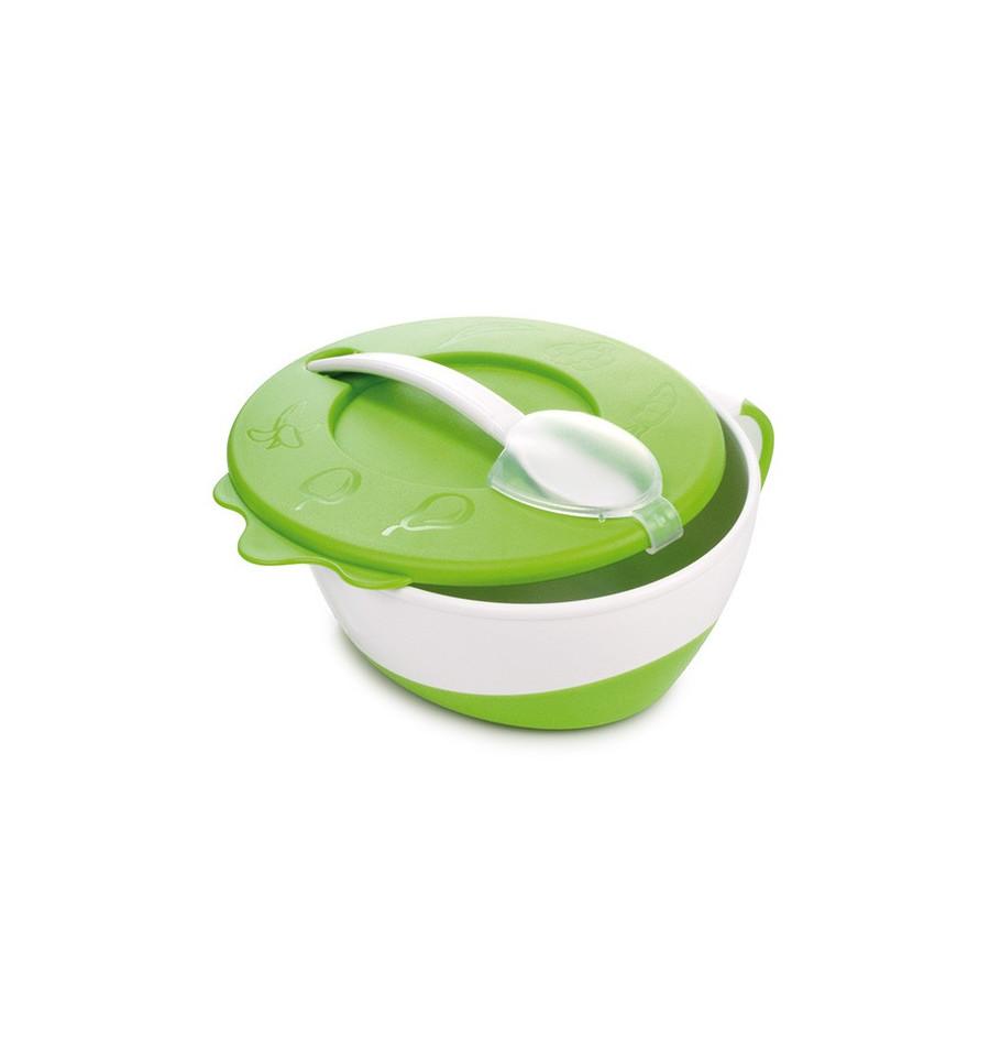Canpol babies Plastová miska s lyžičkou 9m+ zelená