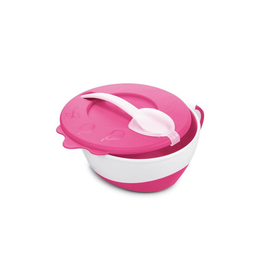 Canpol babies Plastová miska s lyžičkou 9m+ ružová
