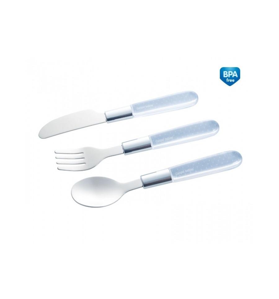 Canpol babies Detský kovový príbor lyžička, vidlička, nôž 18+ sivý